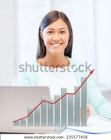 business, education and technology concept - asian businesswoman or student with laptop, graph and documents in office