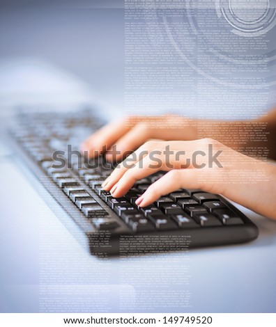 business, education and technology concept - woman hands typing on keyboard - stock photo