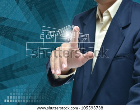 business education by business people on blue modern background.