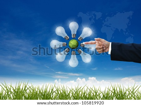 business education by business people on nature background. - stock photo