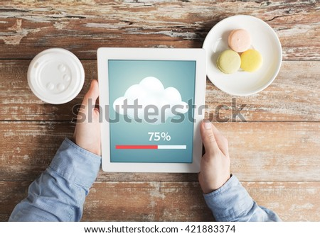 business, education, cloud computing, people and technology concept - close up of male hands with tablet pc computer transferring data - stock photo