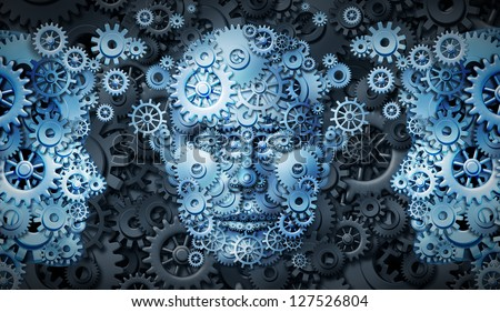 Business education group with a network of connected gears and cogs in the shape of people exchanging knowledge and expertise as a symbol of training and career growth for financial success. - stock photo