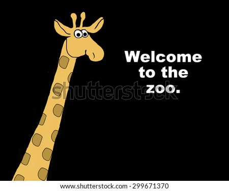 Business, education or animal cartoon showing a giraffe and the words, 'welcome to the zoo'. - stock photo