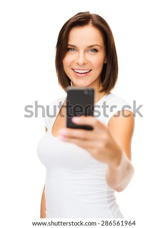 business, education, technology and internet concept - happy woman with smartphone - stock photo