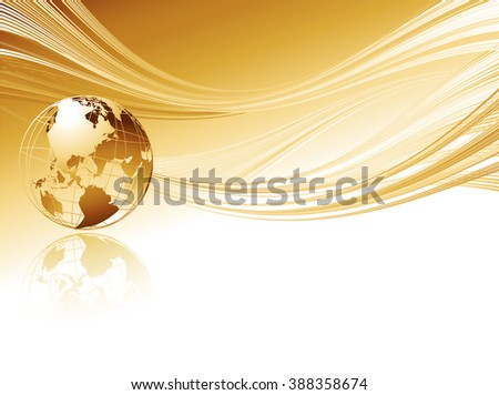 Business elegant abstract background with globe. Golden transparent globe on gold wave background.Gold globe and wave. Transparent metal globe. Gold globe. Transparent metal globe. Earth gold globe - stock photo