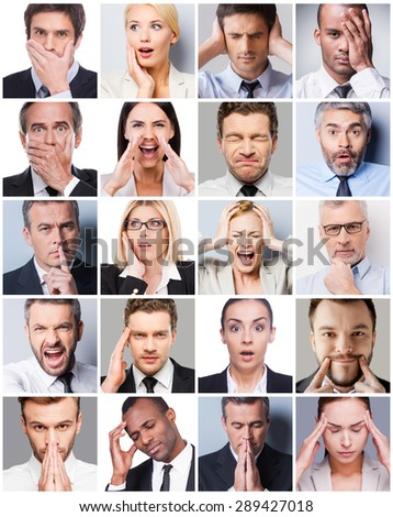 Business emotions. Collage of diverse multi-ethnic business people expressing different emotions  - stock photo