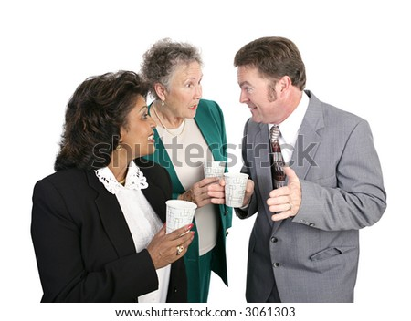 Business employees gathered to get a drink of water and gossip.  Isolated on white. - stock photo