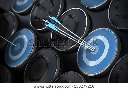 Business excellence, corporate performance management, and achieving goals concept consisting of many targets and three arrows hitting the center of the objective. Depth of field effect. - stock photo