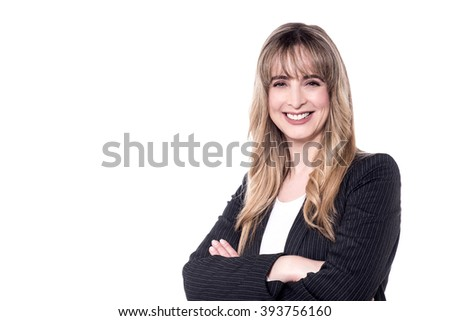 Business executive over white posing to camera - stock photo