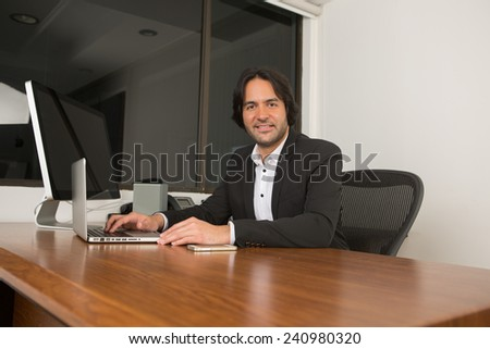 Business executive working at the office - stock photo