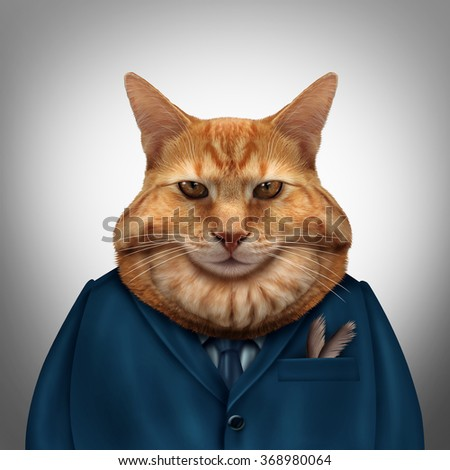Business fat cat character as a feline tycoon businessman character as a symbol for a wealthy boss or a greedy and selfish magnate owner. - stock photo
