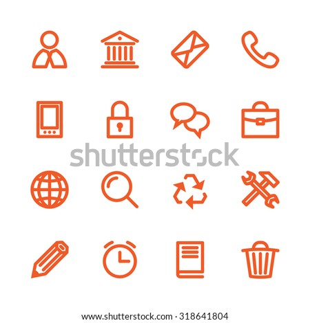Business Fat Line Icon set for web and mobile. Modern minimalistic flat design elements of customer service, client support, success business management, work tools, banking services, office equipment - stock photo
