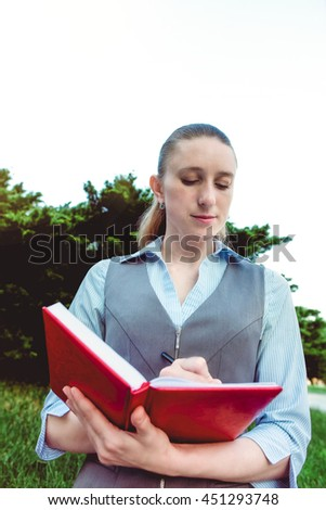 Business female. Office people. Person with pen. White Businesswoman work with paper document. Writing paperwork. Corporate prifessional executive adult woman manager. - stock photo