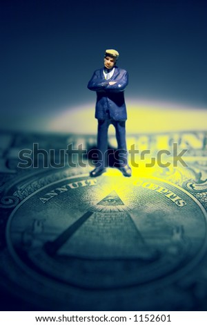 Business figures and dollar - stock photo