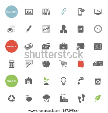 Business, finance and ecology icons  - stock photo