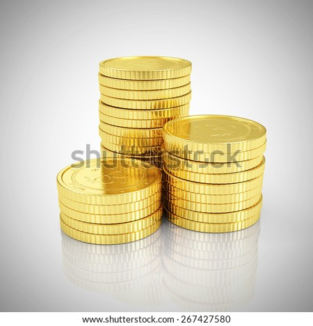 Business, Finance and Internet Online Payment System Concept. Stack of Golden Bitcoins Cryptocurrency on gradient reflective background - stock photo