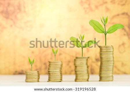 Business Finance and Money concept, Money Gold coin stack growing graph with old map background;Trees growing on gold coin - stock photo