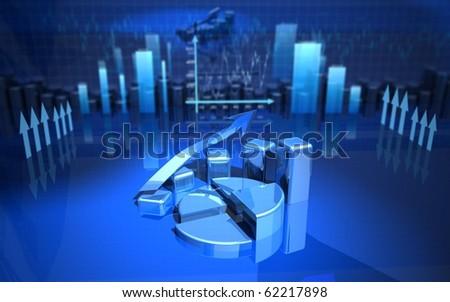 business finance charts, bar, graphics, diagram 3d - stock photo