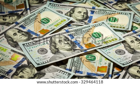 Business finance concept background panorama of hundred dollars bank notes bills of new 2013 year edition - stock photo