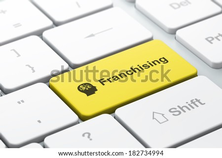 Business finance concept: computer keyboard with Head With Finance Symbol icon and word Franchising, selected focus on enter button, 3d render - stock photo