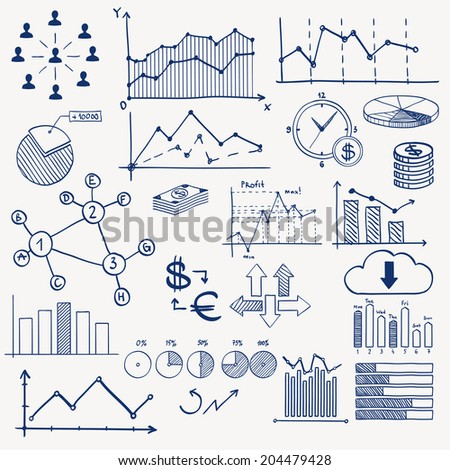 Business finance management infographics doodle hand draw elements. Concept - graph, chart, pie, arrows, signs social media, earning money - stock photo