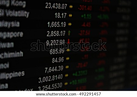 Business, finance or investment background concept : Display of Asia Pacific stock market data on monitor