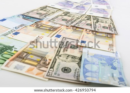business, finance, saving and cash concept - close up of euro paper money on the table - stock photo