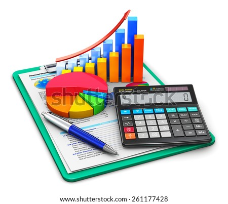 Business finance, tax, accounting, banking, statistics and money analytic research concept: office calculator, bar graph and pie diagram and pen on financial reports in clipboard isolated on white