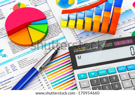Business finance, tax, accounting, statistics and analytic research concept: office electronic calculator, bar graph charts, pie diagram and ballpoint pen on financial reports with colorful data