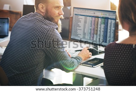 Business Finance Team Busy Workplace Concept - stock photo