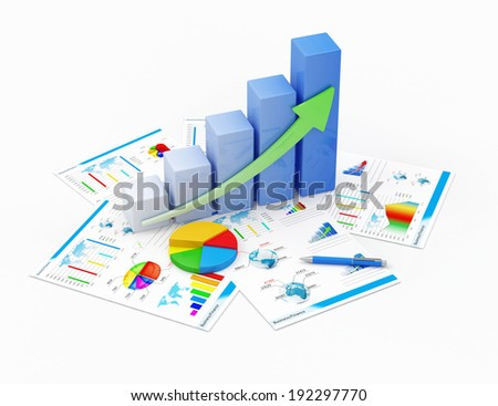 Business Financial Analytics Concept. Business Graph, Pie Chart and Financial Reports isolated on white background - stock photo