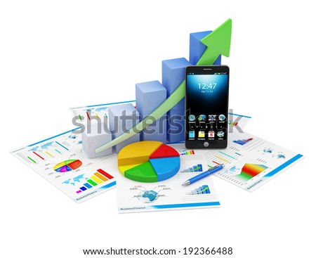 Business Financial Analytics Concept. Business Graph, Pie Chart, Touchscreen Smartphone and Financial Reports isolated on white background - stock photo
