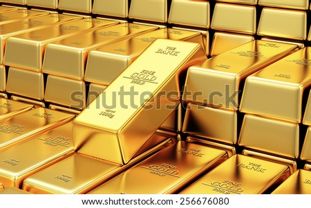 Business, Financial, Bank Gold Reserves Concept. Stack of Golden Bars in the Bank Vault Abstract Background - stock photo