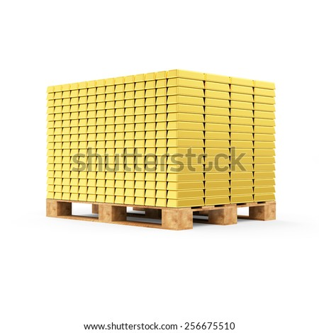 Business, Financial, Bank Gold Reserves Concept. Stack of Golden Bars on a Wooden Pallet isolated on white background - stock photo