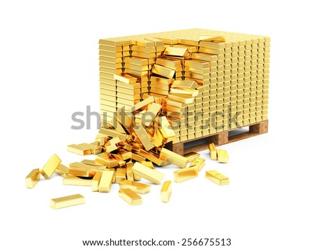 Business, Financial, Bank Gold Reserves Concept. Stack of Golden Bars on a Wooden Pallet isolated on white background