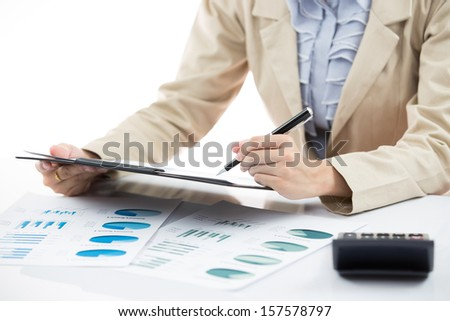 Business financial data analyzing. photo of a businesswoman's