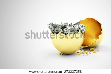 Business, Financial, Success or Wealth and Riches Concept. Broken Big Golden Egg with Heap of Dollar Bills Inside on gradient background - stock photo