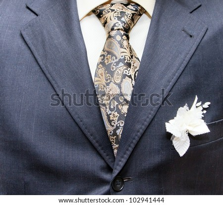 business formal wear with tie and suit - stock photo