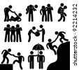 Business Friend Helping Each Other Icon Symbol Sign Pictogram - stock photo