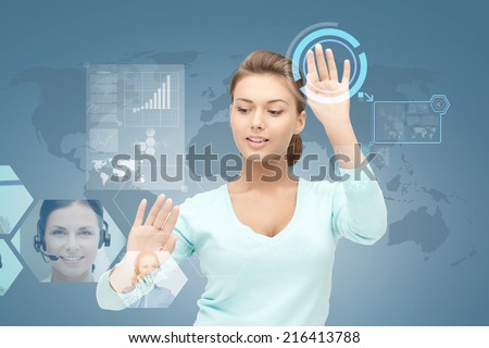 business, future, education and technology concept - smiling young businesswoman or student working with virtual screen - stock photo