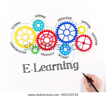 Business Gears and E-Learning Mechanism - stock photo