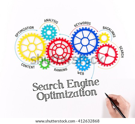 Business Gears and Search Engine Optimization Mechanism - stock photo