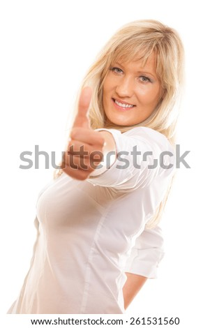 Business, gesture and office concept. Happy mature woman giving thumbs up sign isolated - stock photo