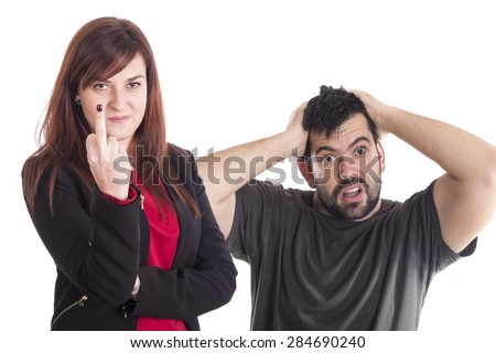 Business girl making fuck you gesture with hand - stock photo