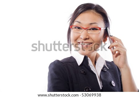business girl with a cellular telephone! - stock photo