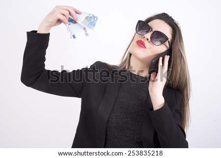 business  girl with money - stock photo