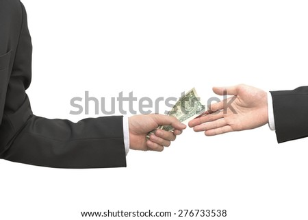Business give and take money isolated on white