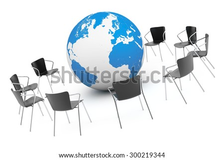 Business Global meeting. Chairs arranging round with Earth Globe on a white background. 3d rendering - stock photo