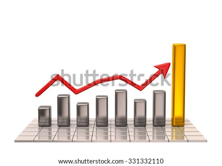 Business graph and chart on white background - stock photo