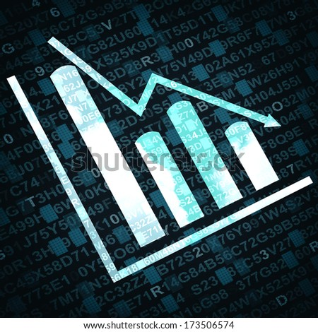 Business graph and chart with arrow going down - blue background - stock photo